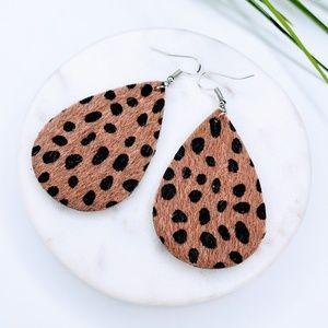 5 for $25 Textured Animal Print Leaf Earrings